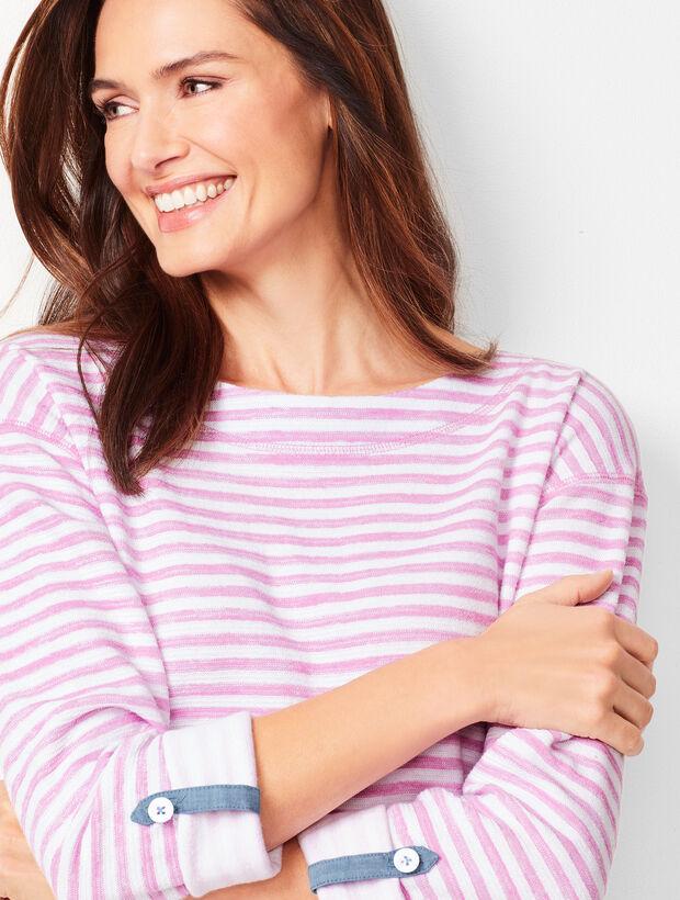 Stripe Button-Tab Tee