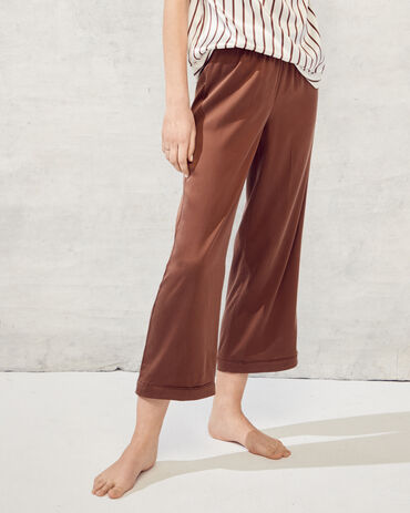 Washable Silk Cropped Pants