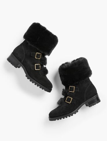 Tish Buckle Faux Fur Trim Suede Ankle Boots