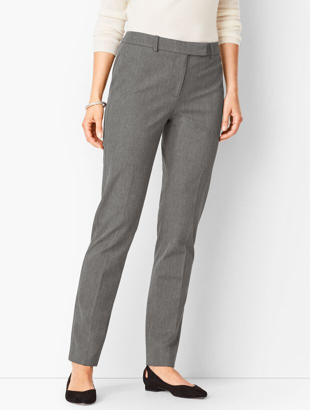 Bi-Stretch High-Waist Straight-Leg Pants - Melange