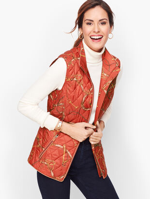 Equestrian Print Quilted Vest