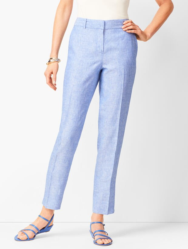 Linen Slim Ankle Pants - Solid