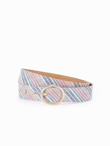 Oval Buckle Belt - Stripe