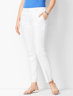 Linen Slim Ankle Pants - Lined - Curvy Fit