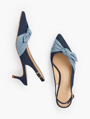 Sylvie Side Knot Slingbacks - Denim