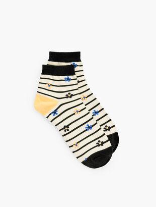 Daisy Stripe Crew Socks