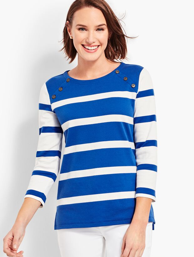 Stripe Button-Shoulder Crewneck Top