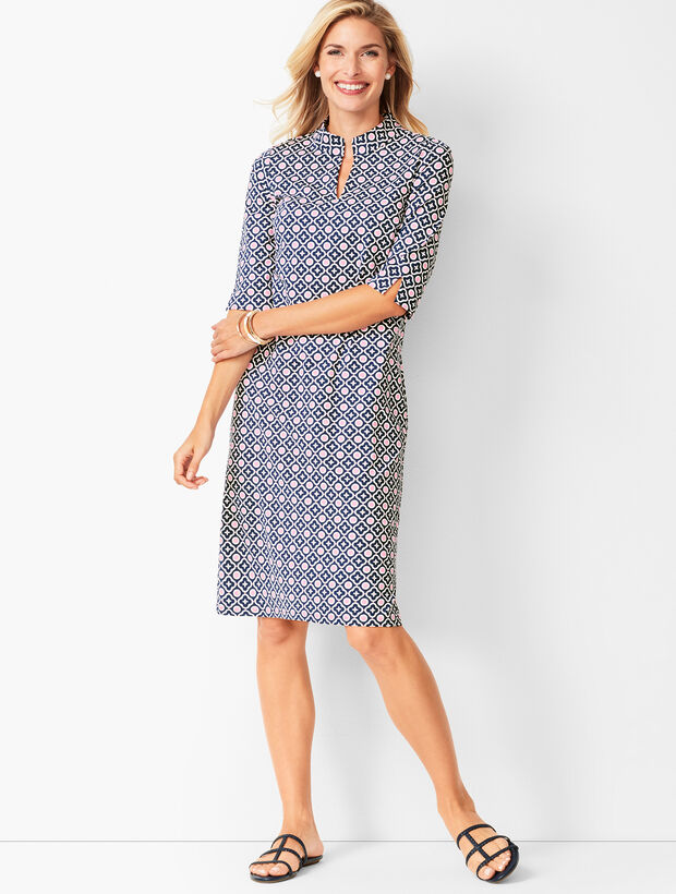 Geo-Print Mockneck Knit Shift Dress