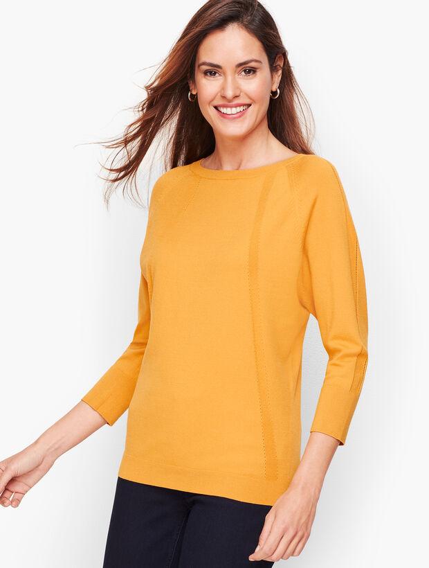 Pointelle Detail Dolman Sleeve Sweater
