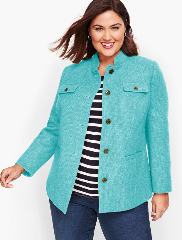 Wool Band-Collar Jacket