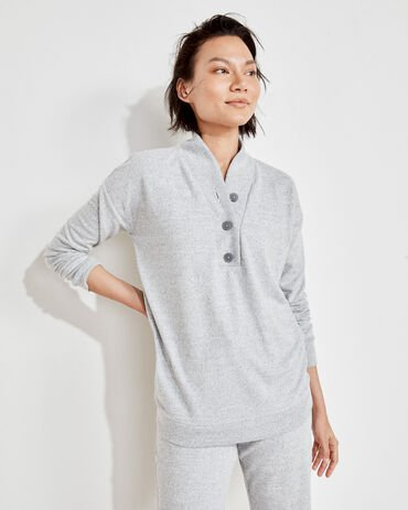 Marled Knit Henley Pullover