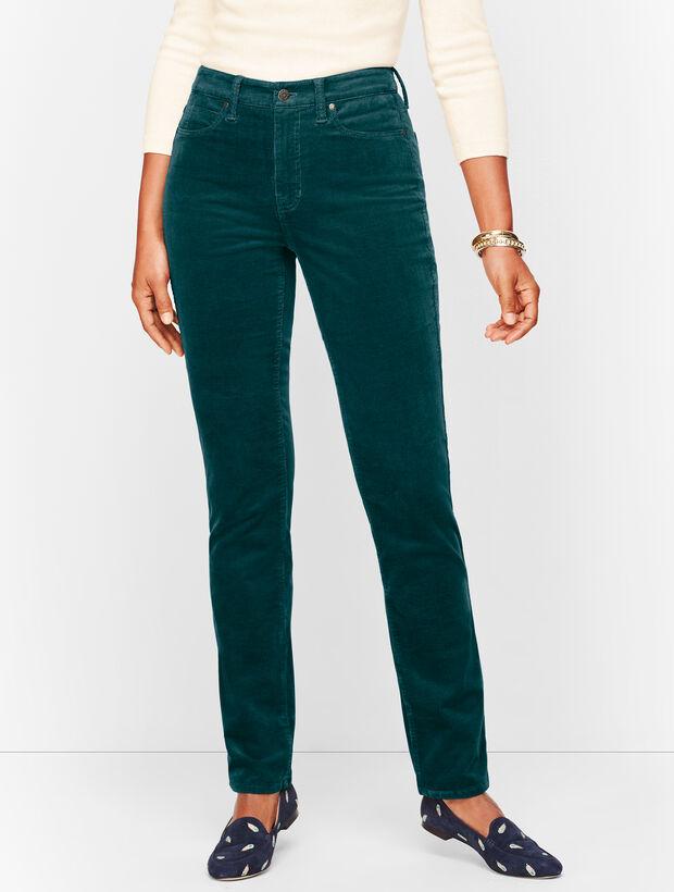 Stretch Corduroy Straight Leg Pants - Curvy Fit