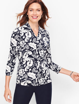 Platinum Jersey High-Neck Top - Bi-Color Floral