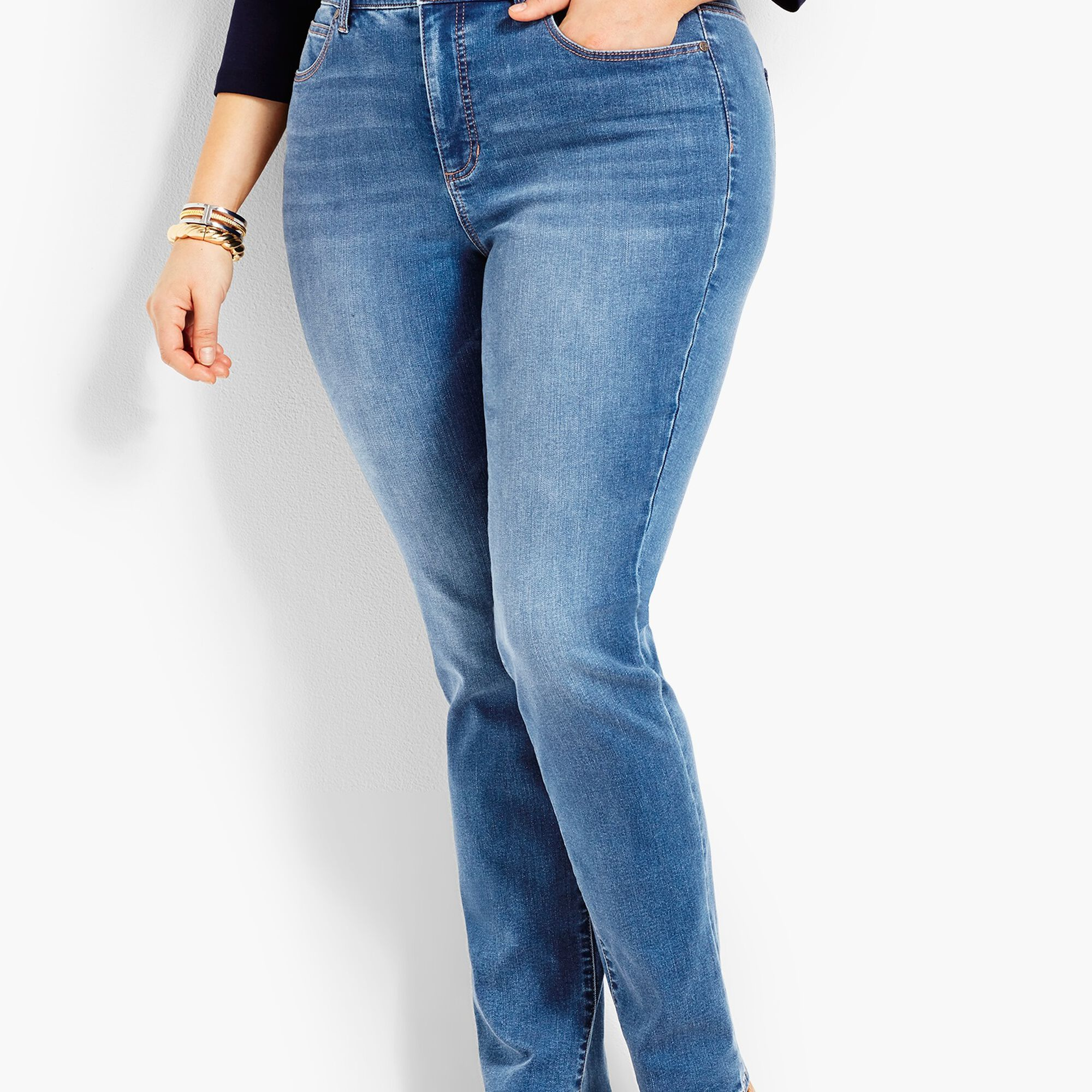 ef1eada68ce Plus Size Exclusive Comfort Stretch High-Rise Straight-Leg Jeans ...