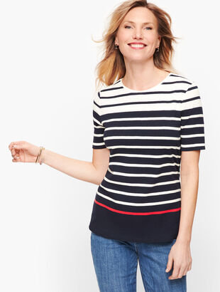 Cotton Crewneck Tee - Stripe