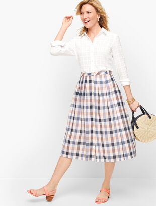 Vivid Plaid Button Front Midi Skirt
