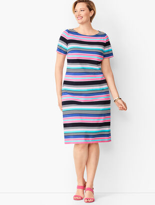 Multicolor Stripe Jersey Shift Dress
