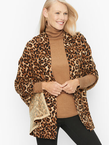 Leopard Print Merino Cashmere Blend Wrap