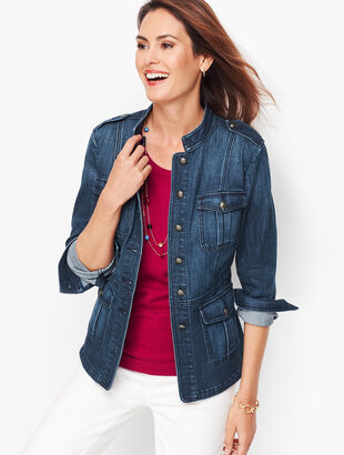 Band Collar Jacket - Denim