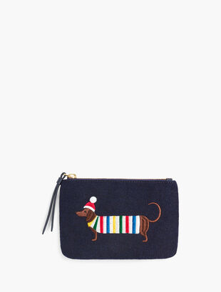 Embroidered Dachshund Zip Top Pouch