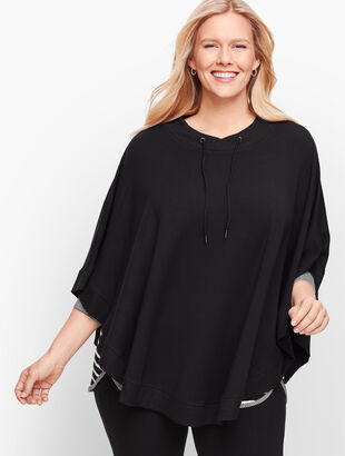 Plus Size Fleece Drawcord Poncho