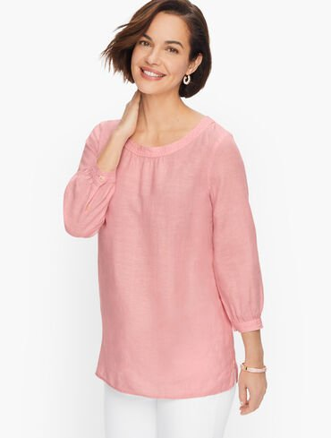 Linen Button-Back Blouse - Cross Dyed
