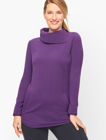 Split Neck Tunic Pullover - Small Dot