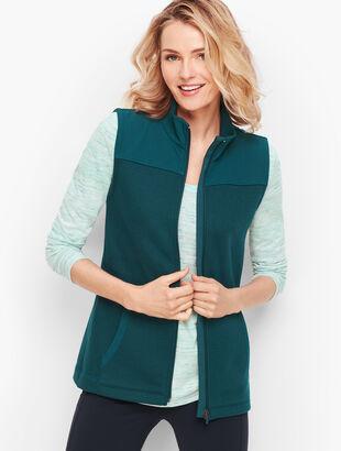 Woven Trim Fleece Vest
