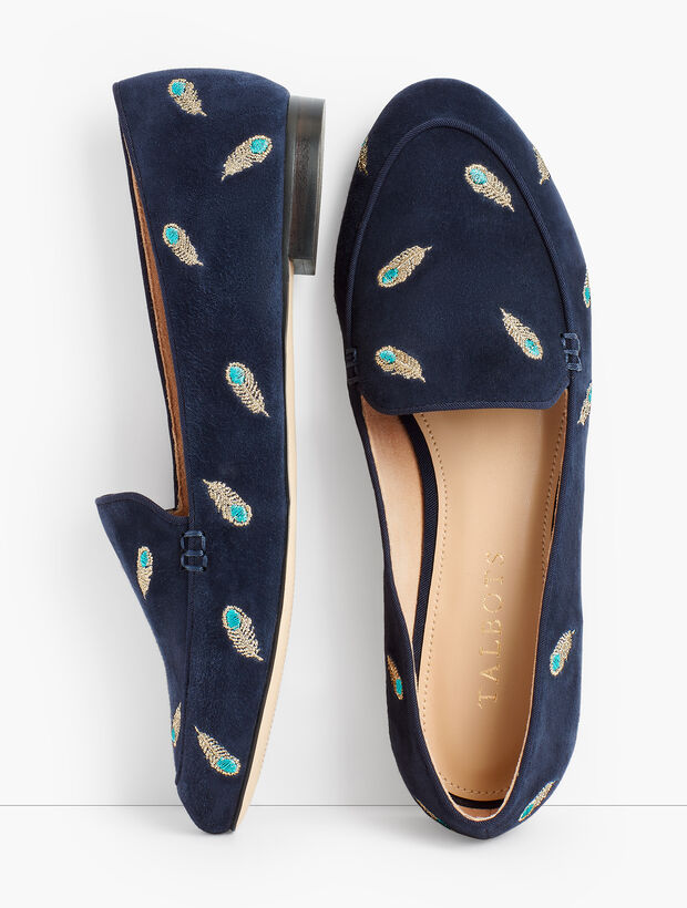 Ryan Keeper Loafers - Embroidered Peacock Feathers