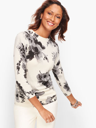 Cashmere Audrey Sweater - Winter Floral