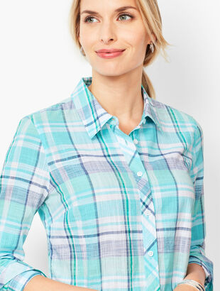 Classic Cotton Shirt - Sea Plaid