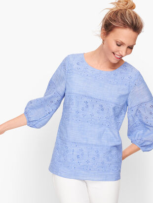 Embroidered Voile Top - Cross Dye
