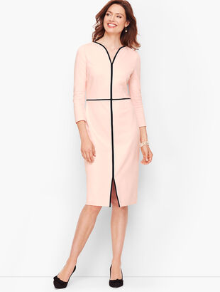 Tipped Ponte Sheath Dress - Scallop Pink
