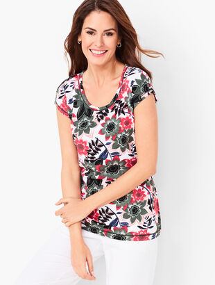 Cutout-Back Tee - Tropical Print