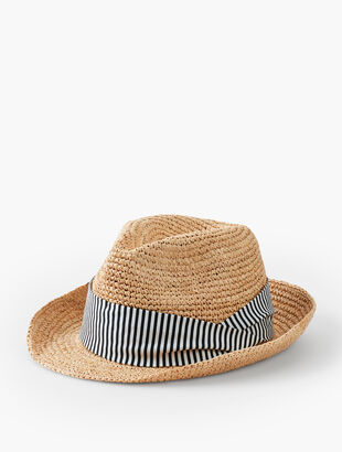 Crotchet Raffia Fedora - Stripe Band