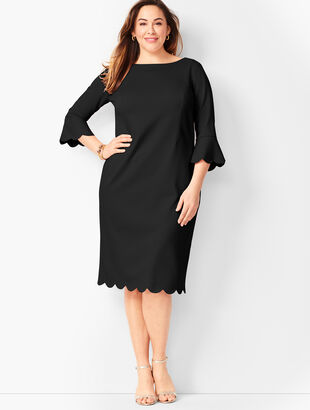 Refined Scallop-Edge Ponte Sheath Dress