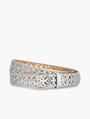 Metallic Perforated Leather Belt