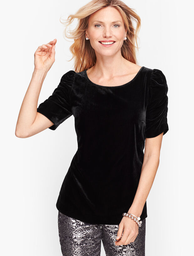 Ruched Sleeve Velvet Top