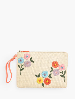 Embroidered Clutch - Tossed Flowers