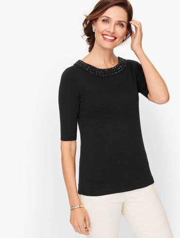 Embellished Cotton Blend Sweater