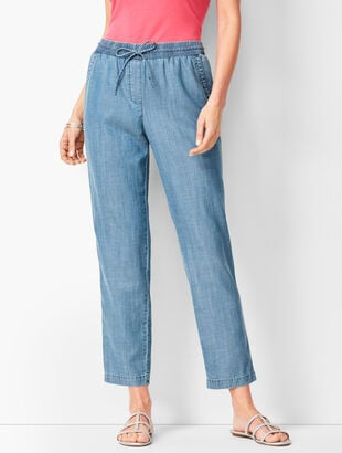 Drawstring Denim Ankle Pants