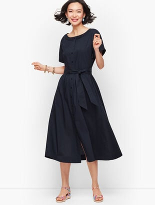 Dolman Sleeve Poplin Shirtdress