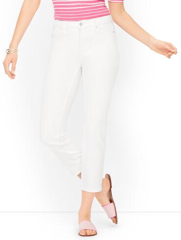 Plus Size Exclusive Straight Leg Crop Jeans - White - Curvy Fit