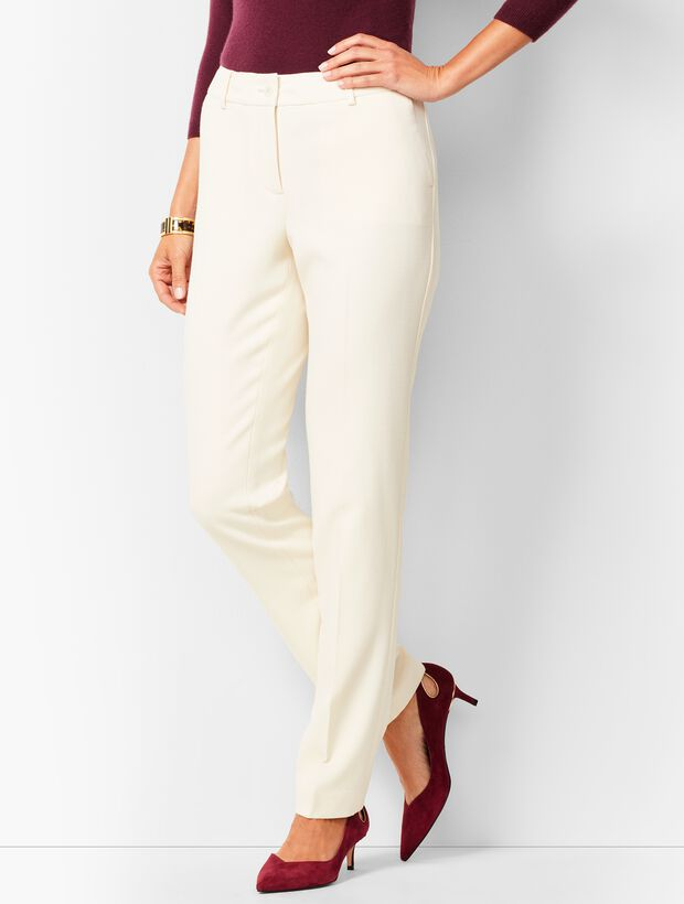 High-Waist Straight-Leg Lined Wool Pant - Talbots Ivory