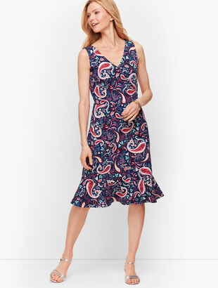 Flounce Hem Fit & Flare Dress - Watercolor Paisley