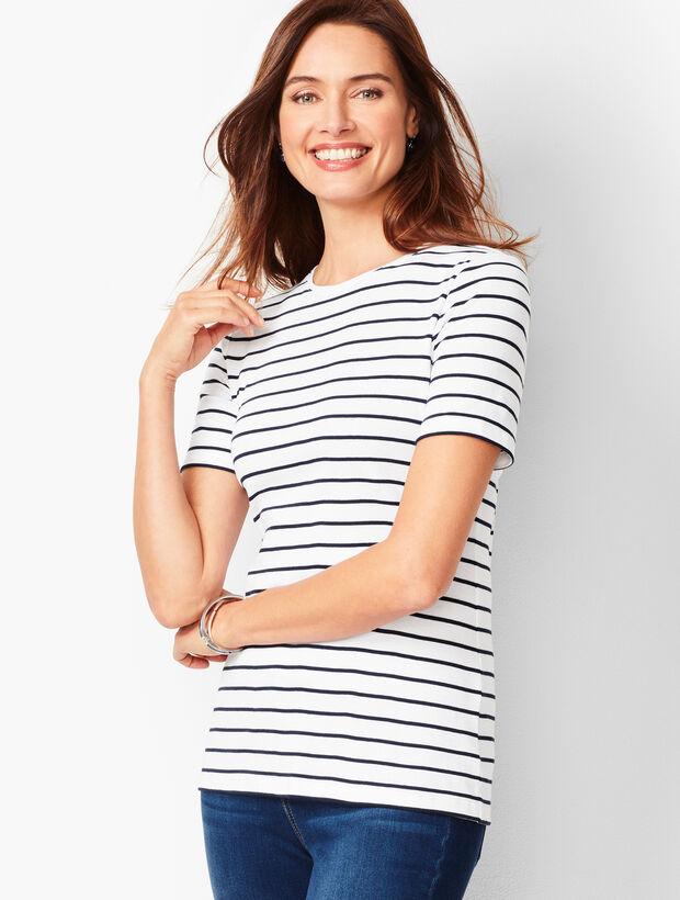 Cotton Crewneck Tee - Bi-Color Stripe