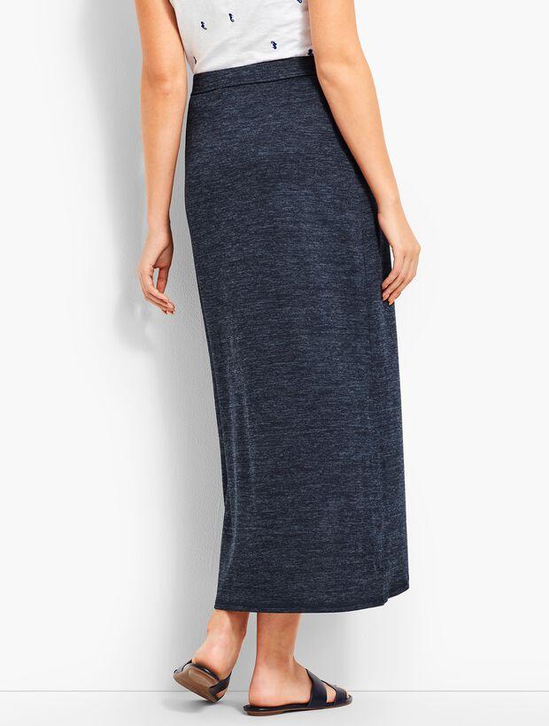 Marled Soft-Drape Jersey Skirt