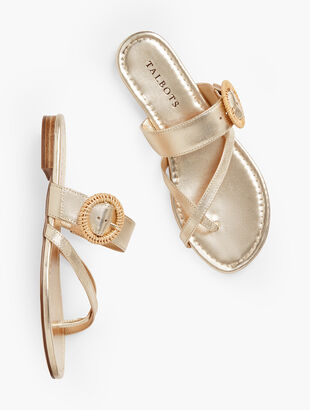 Gia Rattan Buckle Sandals - Metallic Leather
