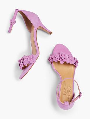 Lakia Floral Appliqué Suede Sandals