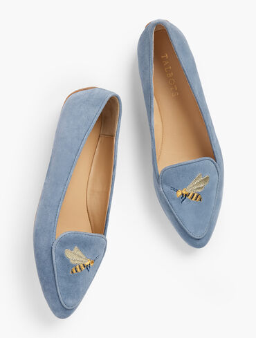 Francesca Embroidered Suede Driving Flats